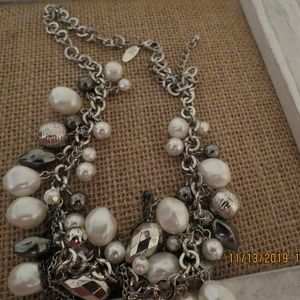 NY Statement necklace faux pearl and silver dangli